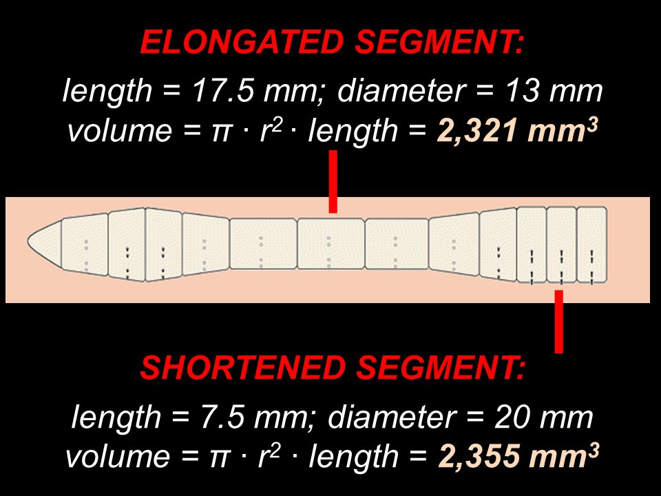 ELONGATED SEGMENT: length = 17.5 mm; diameter = 13 mm volume = π · r 2 · length = 2,321 mm 3 SHORTENED SEGMENT: length = 7.5 mm; diameter = 20 mm volume = π · r 2 · length = 2,355 mm 3 I I