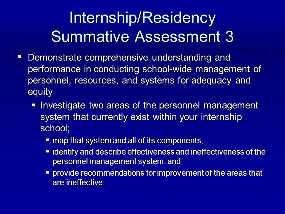 Internship/Residency Summative Assessment 3  Demonstrate comprehensive understanding and performance in conducting school-wide management of personne