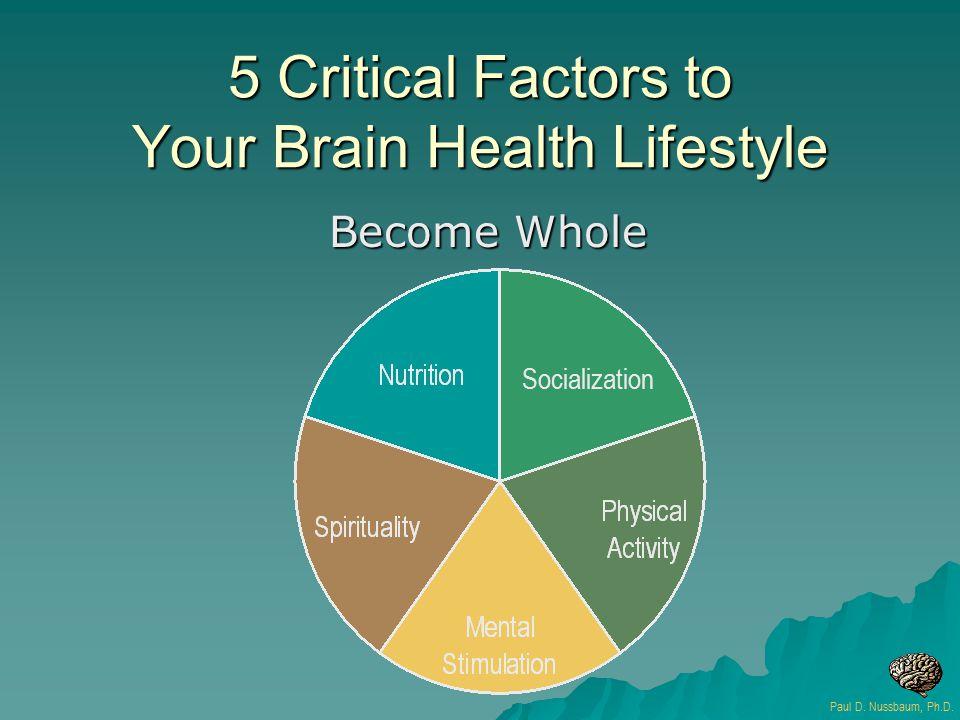 5 Critical Factors to Your Brain Health Lifestyle Become Whole Paul D. Nussbaum, Ph.D. Socialization
