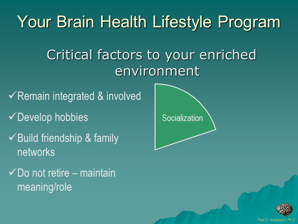 Your Brain Health Lifestyle Program Critical factors to your enriched environment Socialization Remain integrated & involved Develop hobbies Build fri