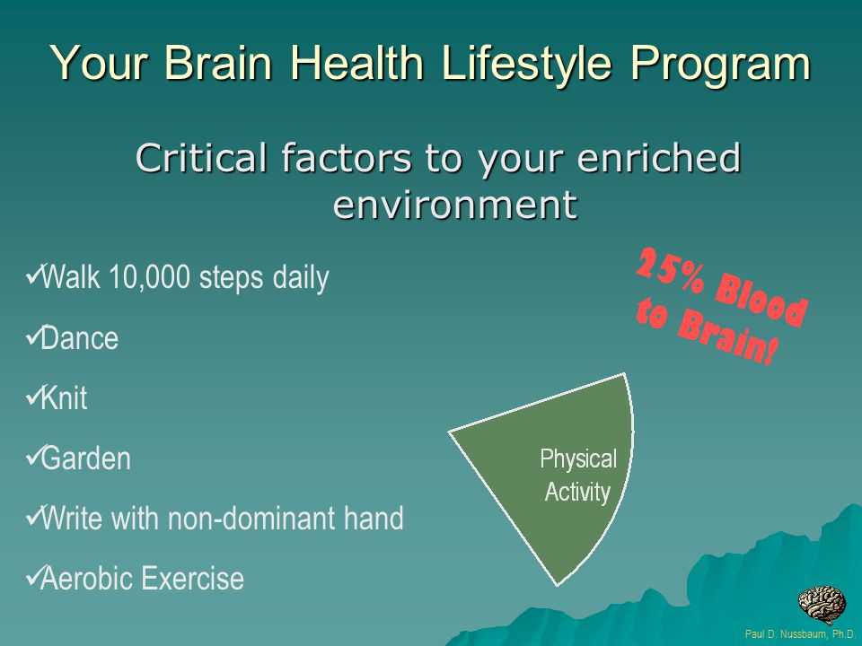 Critical factors to your enriched environment Walk 10,000 steps daily Dance Knit Garden Write with non-dominant hand Aerobic Exercise 2 5 % B l o o d t o B r a i n .