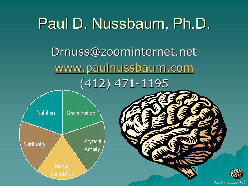 Paul D. Nussbaum, Ph.D. Drnuss@zoominternet.net www.paulnussbaum.com (412) 471-1195 Socialization Paul D. Nussbaum, Ph.D.