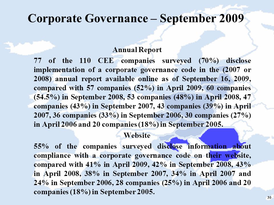 30 Corporate Governance – September 2009 Annual Report 77 of the 110 CEE companies surveyed (70%) disclose implementation of a corporate governance code in the (2007 or 2008) annual report available online as of September 16, 2009, compared with 57 companies (52%) in April 2009, 60 companies (54.5%) in September 2008, 53 companies (48%) in April 2008, 47 companies (43%) in September 2007, 43 companies (39%) in April 2007, 36 companies (33%) in September 2006, 30 companies (27%) in April 2006 and 20 companies (18%) in September 2005.
