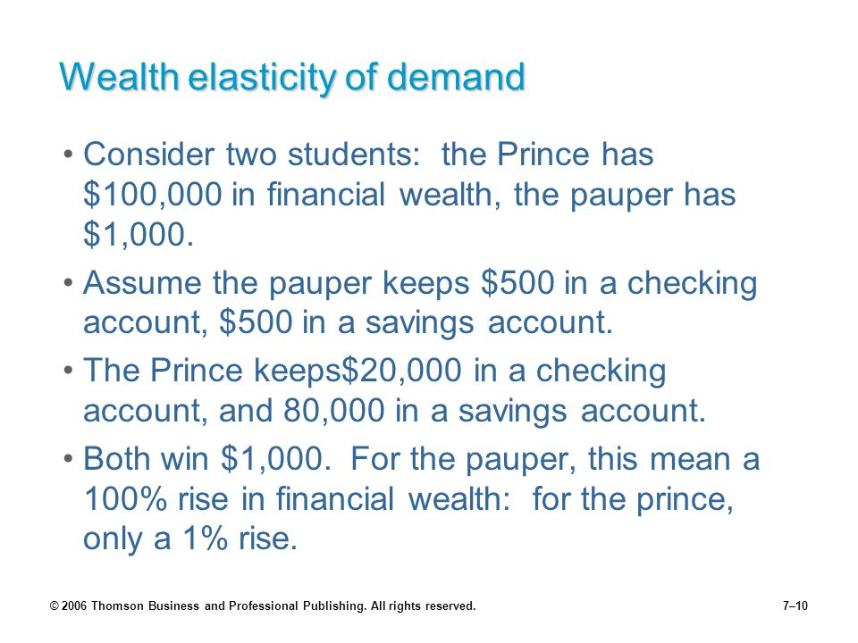 © 2006 Thomson Business and Professional Publishing. All rights reserved.7–10 Wealth elasticity of demand Consider two students: the Prince has $100,0