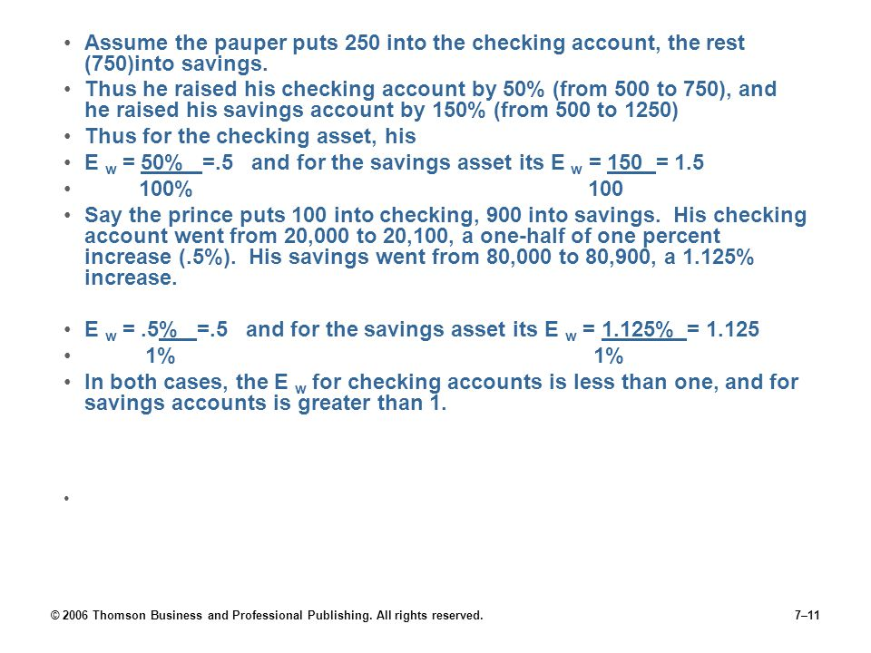 © 2006 Thomson Business and Professional Publishing. All rights reserved.7–11 Assume the pauper puts 250 into the checking account, the rest (750)into