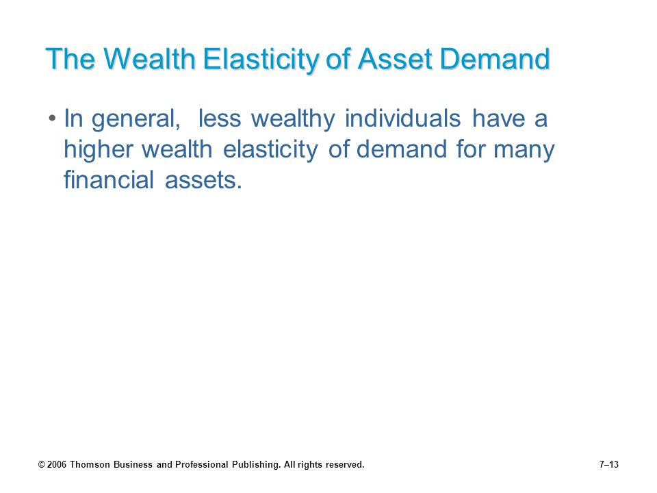 © 2006 Thomson Business and Professional Publishing. All rights reserved.7–13 The Wealth Elasticity of Asset Demand In general, less wealthy individua