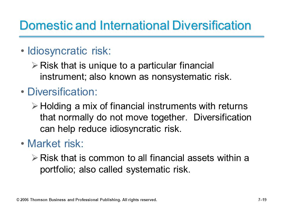 © 2006 Thomson Business and Professional Publishing. All rights reserved.7–19 Domestic and International Diversification Idiosyncratic risk:  Risk th