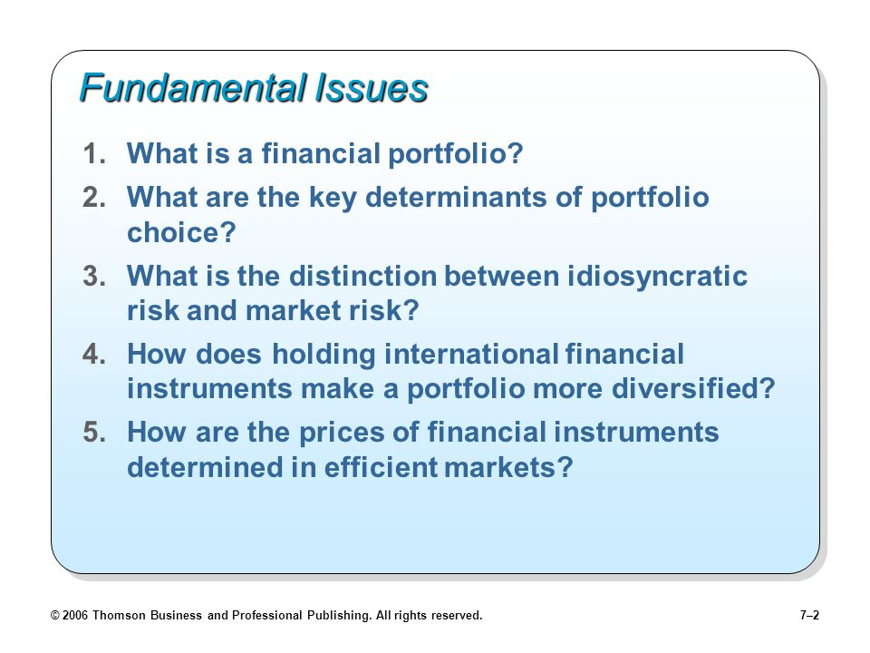 © 2006 Thomson Business and Professional Publishing. All rights reserved.7–2 Fundamental Issues 1.What is a financial portfolio? 2.What are the key de