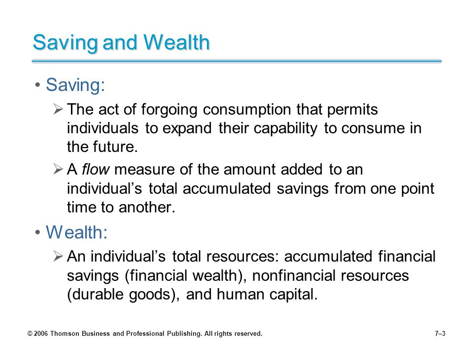 © 2006 Thomson Business and Professional Publishing. All rights reserved.7–3 Saving and Wealth Saving:  The act of forgoing consumption that permits