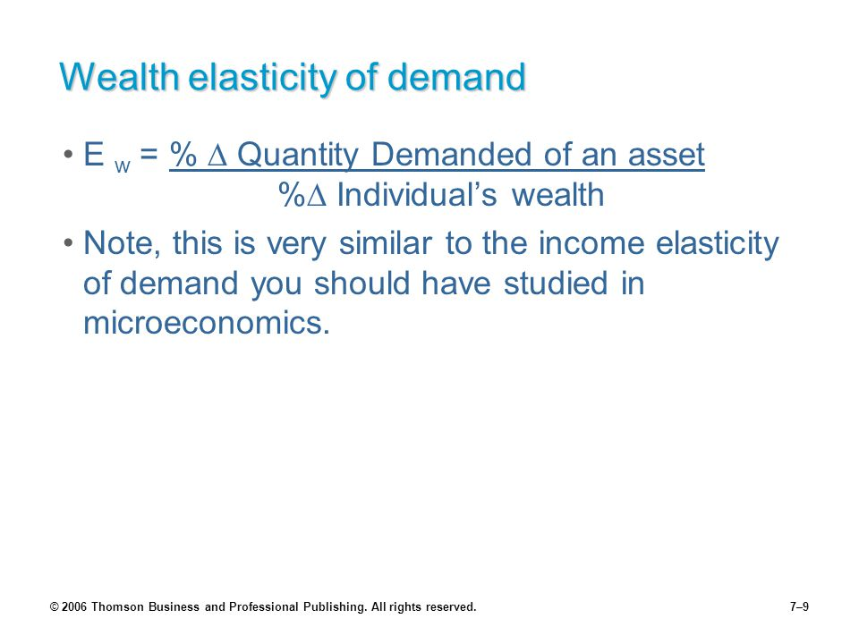 © 2006 Thomson Business and Professional Publishing. All rights reserved.7–9 Wealth elasticity of demand E w = %  Quantity Demanded of an asset %  I
