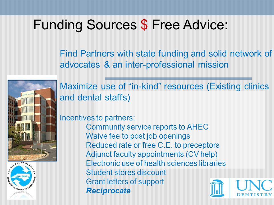 Find Partners with state funding and solid network of advocates & an inter-professional mission Maximize use of in-kind resources (Existing clinics and dental staffs) Incentives to partners: Community service reports to AHEC Waive fee to post job openings Reduced rate or free C.E.