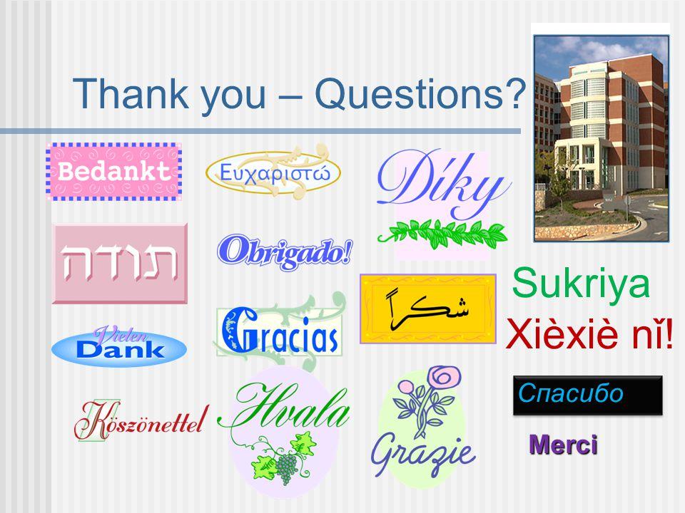 Thank you – Questions Sukriya Спасибо Merci Xièxiè nǐ!