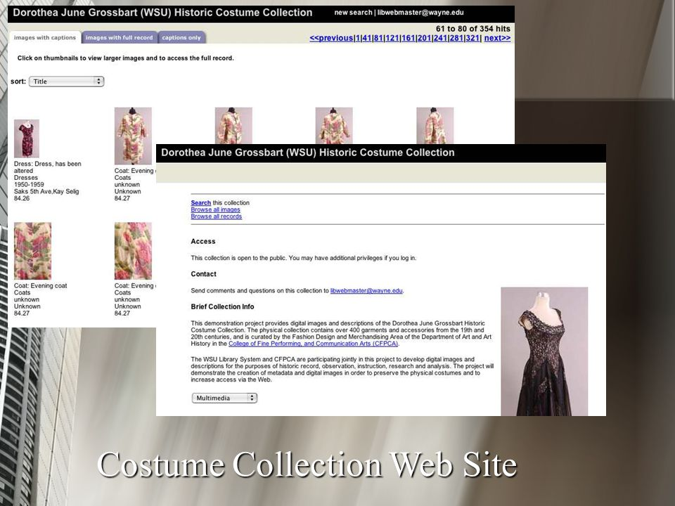 Costume Collection Web Site