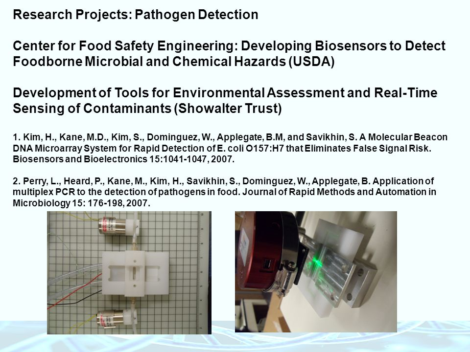 Research Projects: Pathogen Detection Center for Food Safety Engineering: Developing Biosensors to Detect Foodborne Microbial and Chemical Hazards (US