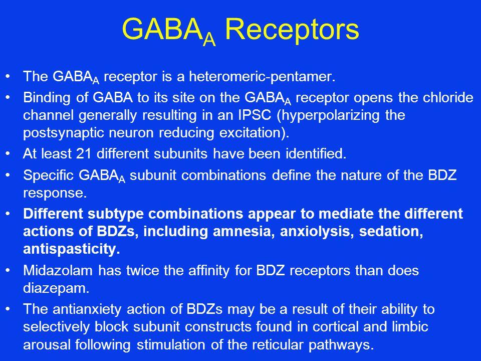 GABA A Receptors The GABA A receptor is a heteromeric-pentamer.