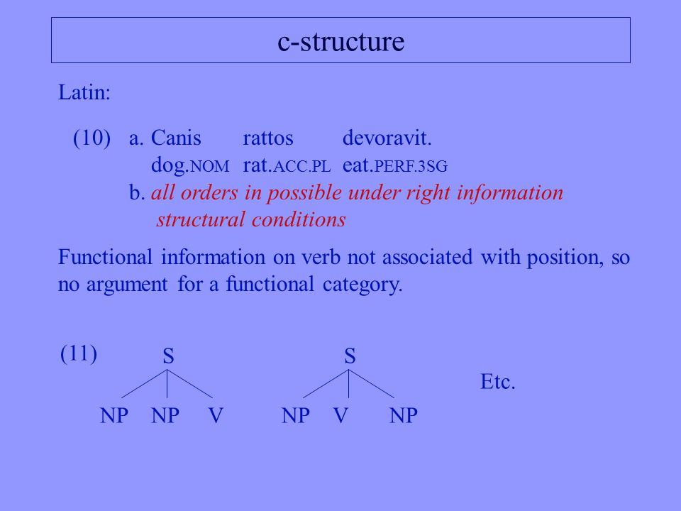 c-structure (10)a.Canisrattosdevoravit. dog. NOM rat.