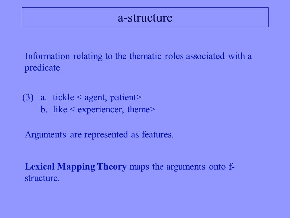 More on functions Grammatical relations SUBJ OBJ ADJUNCT COMP … Semantic featurePRED Functional features NUM PERS TENSE …