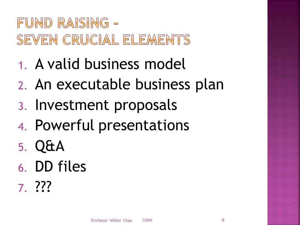 1. A valid business model 2. An executable business plan 3.