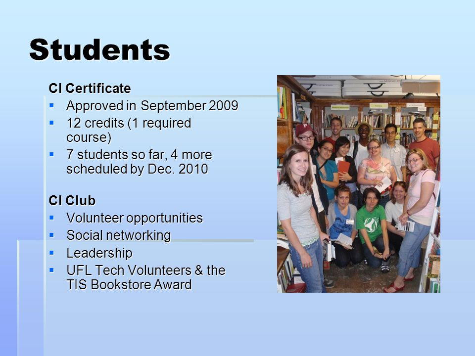 Students CI Certificate  Approved in September 2009  12 credits (1 required course)  12 credits (1 required course)  7 students so far, 4 more scheduled by Dec.