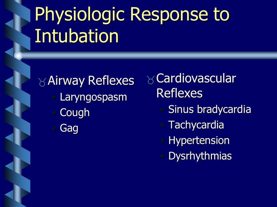Physiologic Response to Intubation  Airway Reflexes LaryngospasmLaryngospasm CoughCough GagGag  Cardiovascular Reflexes Sinus bradycardia Tachycardia Hypertension Dysrhythmias