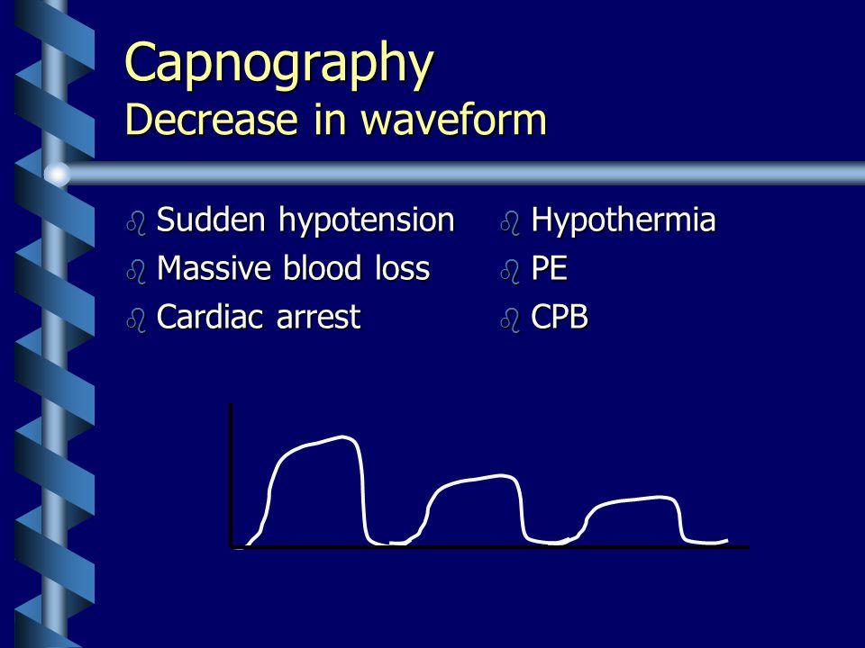 Capnography Decrease in waveform b Sudden hypotension b Massive blood loss b Cardiac arrest b Hypothermia b PE b CPB