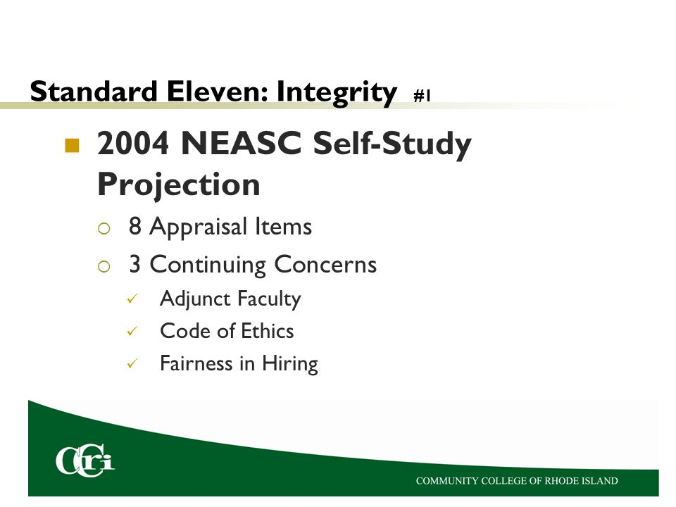 Standard Eleven: Integrity #1 2004 NEASC Self-Study Projection  8 Appraisal Items  3 Continuing Concerns Adjunct Faculty Code of Ethics Fairness in Hiring