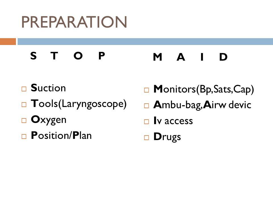 PREPARATION S T O P  Suction  Tools(Laryngoscope)  Oxygen  Position/Plan M A I D  Monitors(Bp,Sats,Cap)  Ambu-bag,Airw devic  Iv access  Drugs