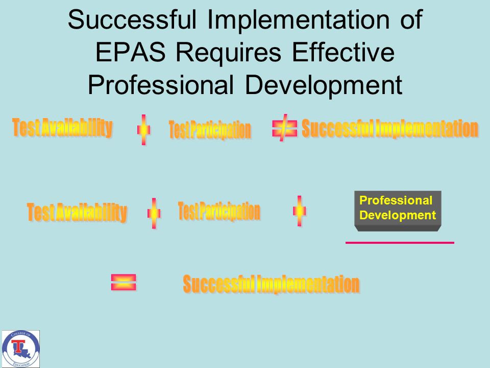 Successful Implementation of EPAS Requires Effective Professional Development Professional Development