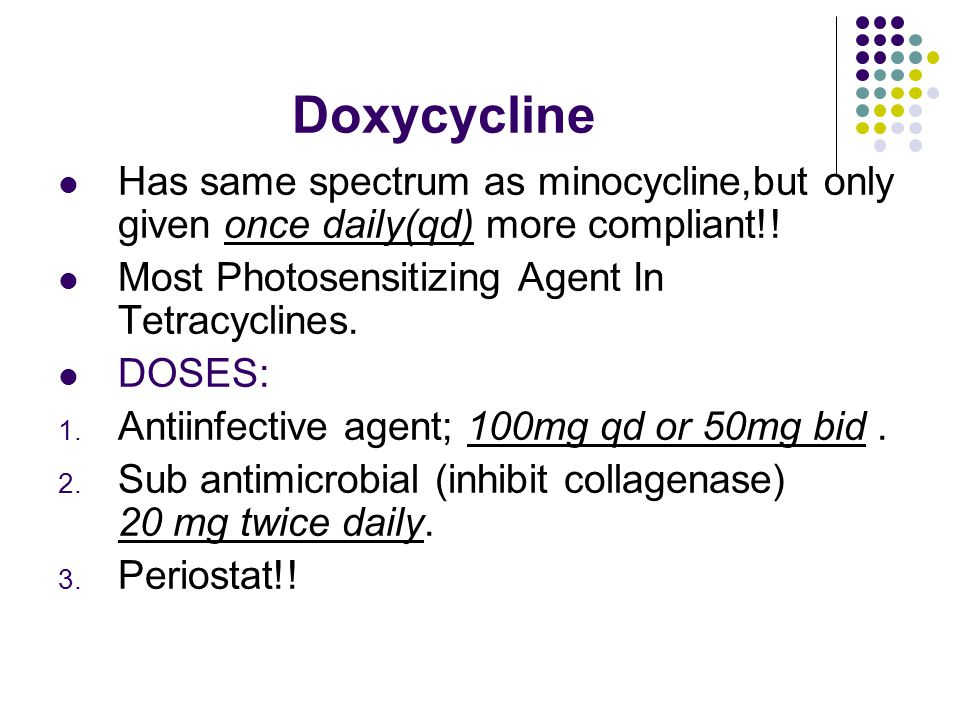 Doxycycline Has same spectrum as minocycline,but only given once daily(qd) more compliant!.
