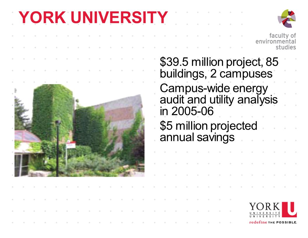 YORK UNIVERSITY $39.5 million project, 85 buildings, 2 campuses Campus-wide energy audit and utility analysis in $5 million projected annual savings
