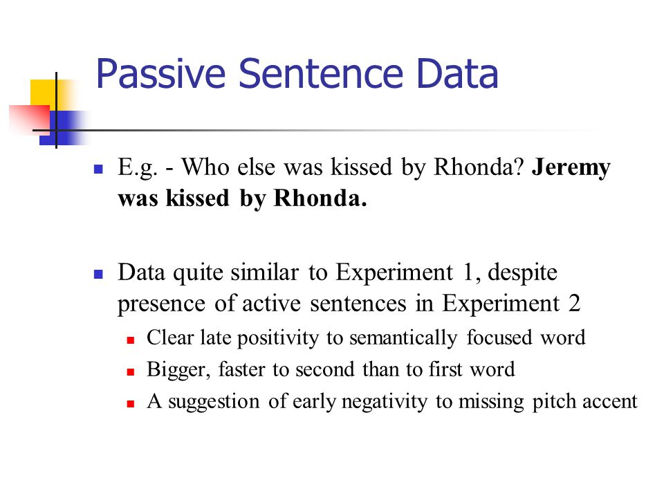 Passive Sentence Data E.g. - Who else was kissed by Rhonda? Jeremy was kissed by Rhonda. Data quite similar to Experiment 1, despite presence of activ