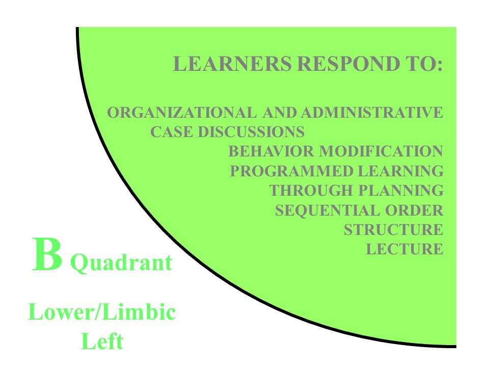 LEARNERS RESPOND TO: ORGANIZATIONAL AND ADMINISTRATIVE CASE DISCUSSIONS BEHAVIOR MODIFICATION PROGRAMMED LEARNING THROUGH PLANNING SEQUENTIAL ORDER STRUCTURE LECTURE B Quadrant Lower/Limbic Left