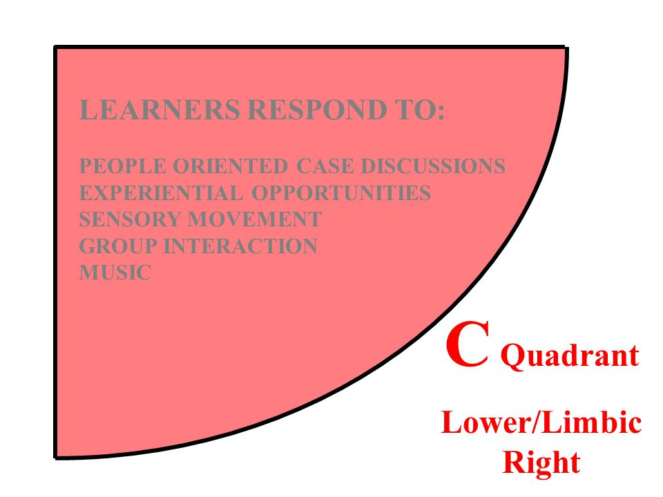 LEARNERS RESPOND TO: PEOPLE ORIENTED CASE DISCUSSIONS EXPERIENTIAL OPPORTUNITIES SENSORY MOVEMENT GROUP INTERACTION MUSIC C Quadrant Lower/Limbic Right