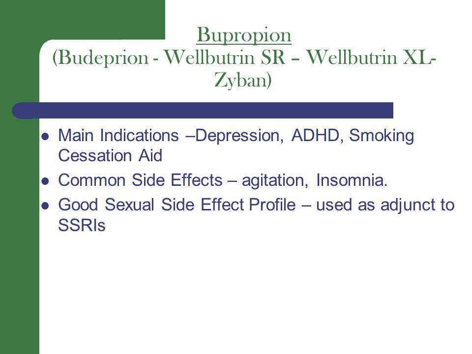 Bupropion (Budeprion - Wellbutrin SR – Wellbutrin XL- Zyban) Main Indications –Depression, ADHD, Smoking Cessation Aid Common Side Effects – agitation, Insomnia.