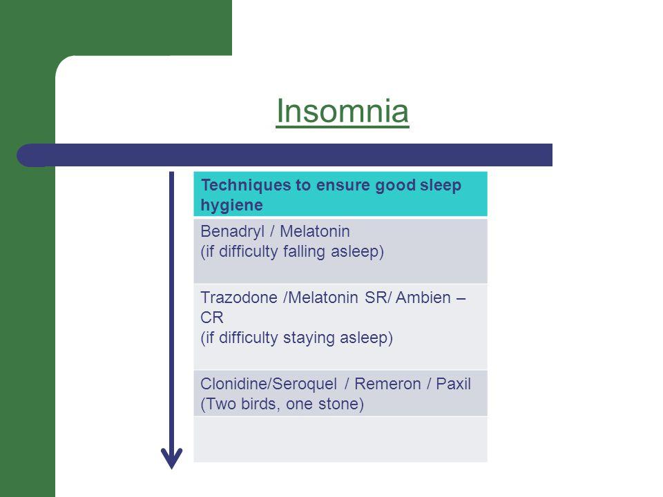 Insomnia Techniques to ensure good sleep hygiene Benadryl / Melatonin (if difficulty falling asleep) Trazodone /Melatonin SR/ Ambien – CR (if difficulty staying asleep) Clonidine/Seroquel / Remeron / Paxil (Two birds, one stone)