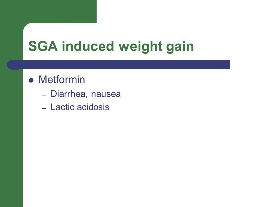SGA induced weight gain Metformin – Diarrhea, nausea – Lactic acidosis