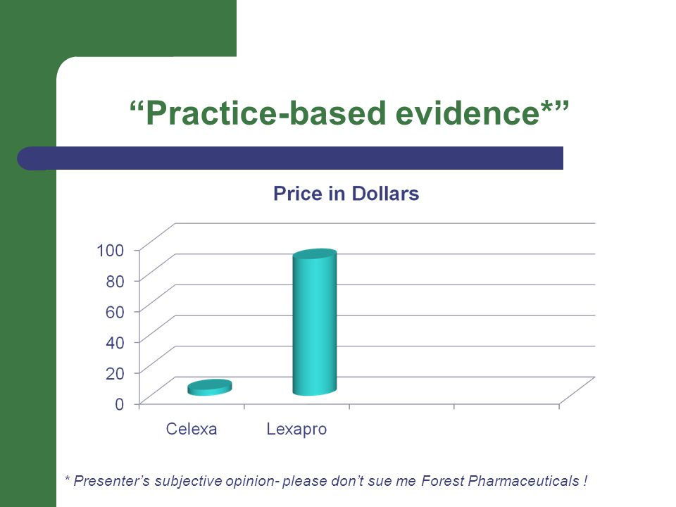 Practice-based evidence* * Presenter's subjective opinion- please don't sue me Forest Pharmaceuticals !