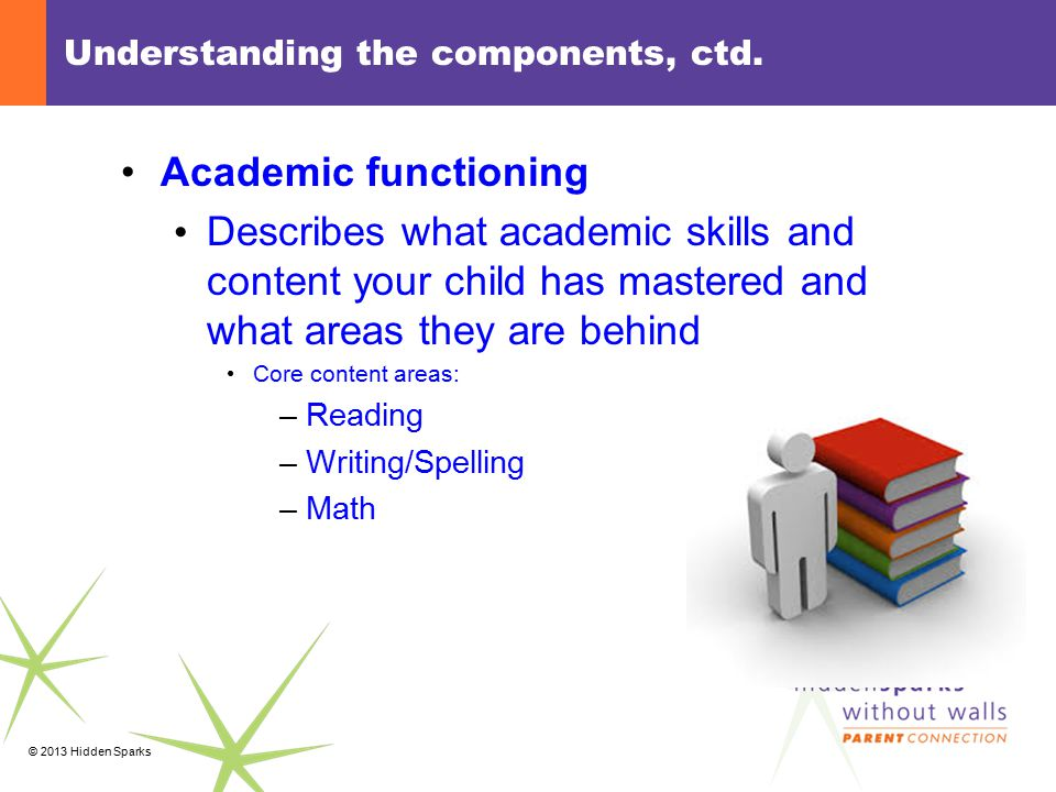 © 2013 Hidden Sparks Understanding the components, ctd. Academic functioning Describes what academic skills and content your child has mastered and wh
