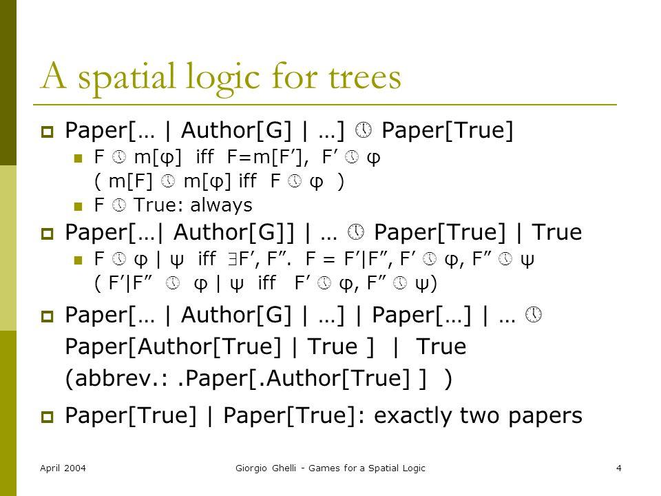 April 2004Giorgio Ghelli - Games for a Spatial Logic4 A spatial logic for trees  Paper[… | Author[G] | …]  Paper[True] F  m[φ] iff F=m[F'], F'  φ
