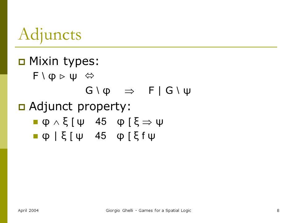 April 2004Giorgio Ghelli - Games for a Spatial Logic8 Adjuncts  Mixin types: F \ φ  ψ  G \ φ  F | G \ ψ  Adjunct property: φ  ξ [ ψ 45 φ [ ξ  ψ