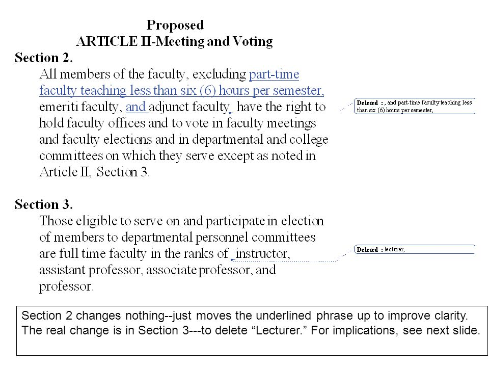 "Section 2 changes nothing--just moves the underlined phrase up to improve clarity. The real change is in Section 3---to delete ""Lecturer."" For implica"