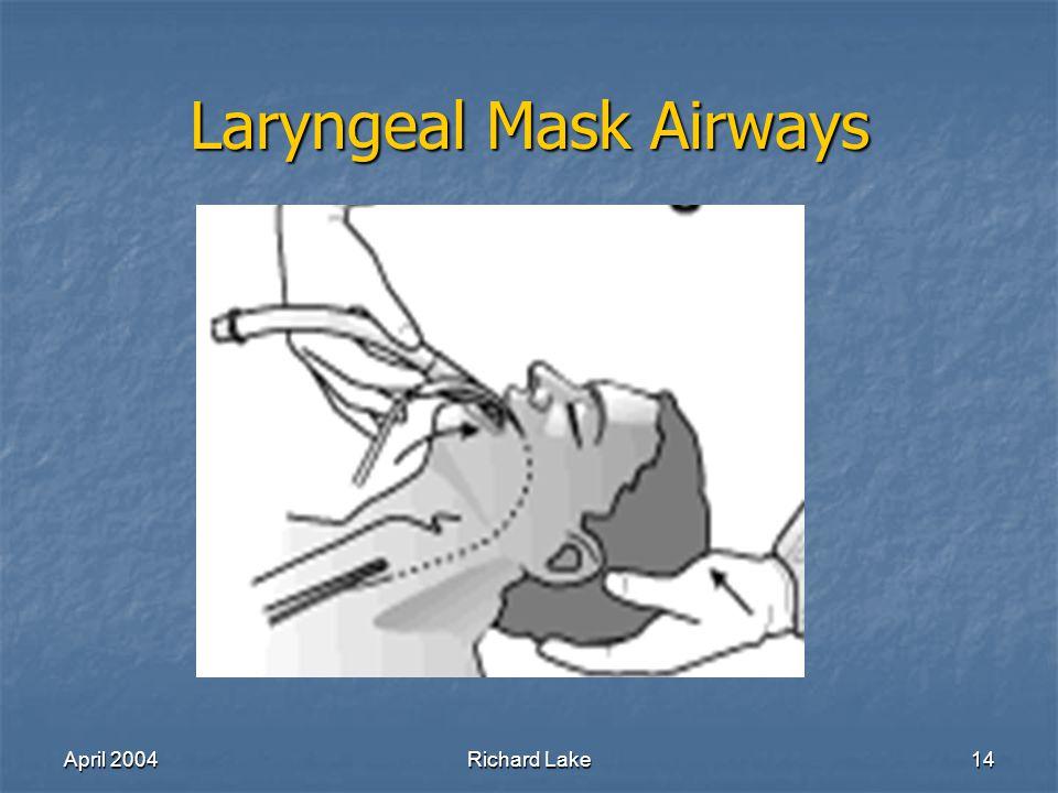 April 2004Richard Lake14 Laryngeal Mask Airways