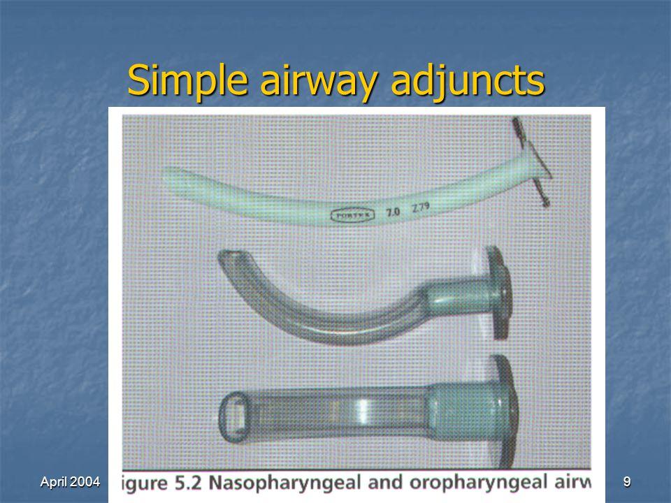 April 2004Richard Lake9 Simple airway adjuncts