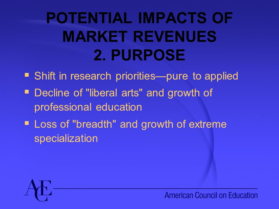 POTENTIAL IMPACTS OF MARKET REVENUES 2.