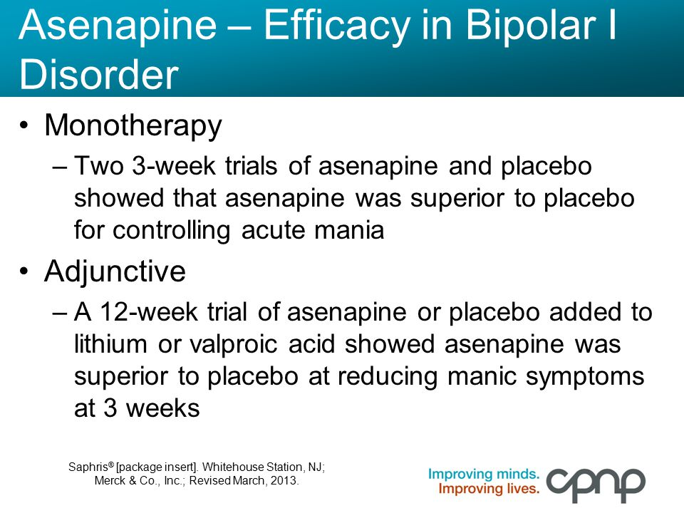 Asenapine – Efficacy in Bipolar I Disorder Monotherapy –Two 3-week trials of asenapine and placebo showed that asenapine was superior to placebo for c