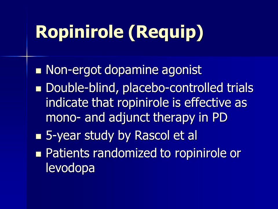 Ropinirole (Requip) Non-ergot dopamine agonist Non-ergot dopamine agonist Double-blind, placebo-controlled trials indicate that ropinirole is effectiv