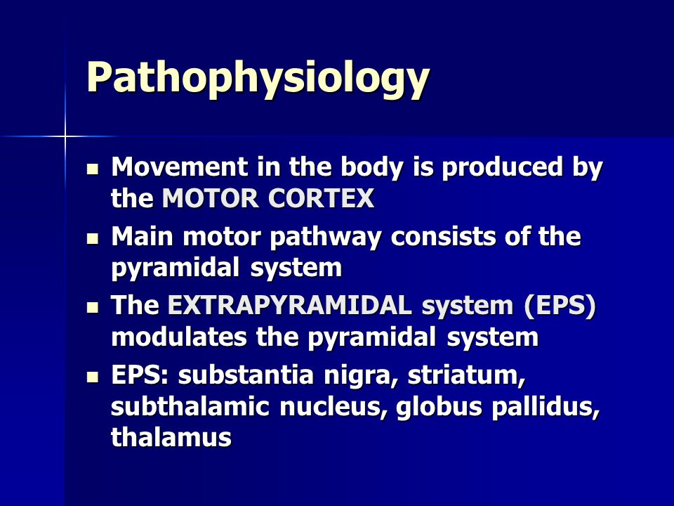 Pathophysiology Movement in the body is produced by the MOTOR CORTEX Movement in the body is produced by the MOTOR CORTEX Main motor pathway consists
