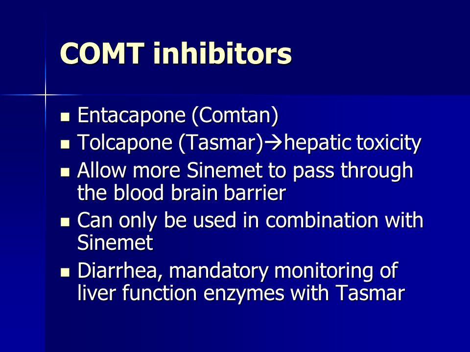 COMT inhibitors Entacapone (Comtan) Entacapone (Comtan) Tolcapone (Tasmar)  hepatic toxicity Tolcapone (Tasmar)  hepatic toxicity Allow more Sinemet