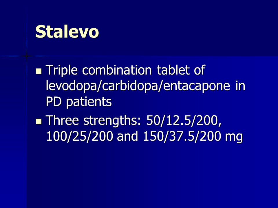 Stalevo Triple combination tablet of levodopa/carbidopa/entacapone in PD patients Triple combination tablet of levodopa/carbidopa/entacapone in PD pat