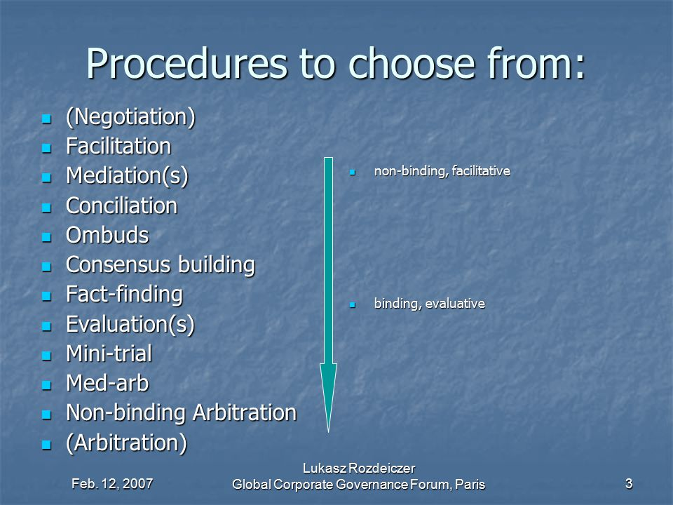 Feb. 12, 2007 Lukasz Rozdeiczer Global Corporate Governance Forum, Paris3 Procedures to choose from: (Negotiation) (Negotiation) Facilitation Facilita